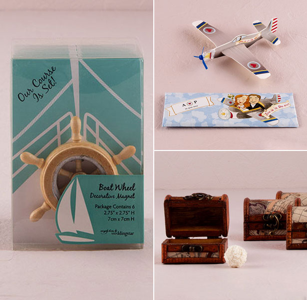 Travel inspired wedding favours