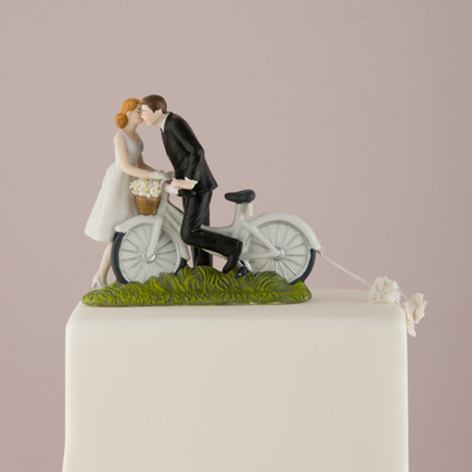 """A Kiss Above"" Bicycle Bride and Groom Couple Figurine - Pretty Bicycle Wedding Cake Topper 