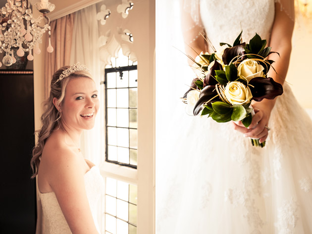 Bride Smiling, Bridal Gown and Bouquet