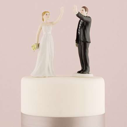Fun Cake Toppers - High Five Bride and Groom Figurines | Confetti.co.uk