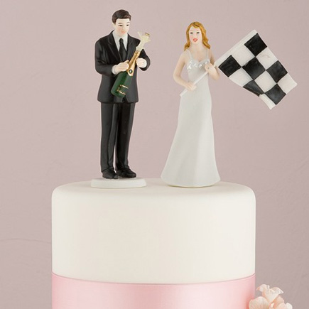 Funny Cake Toppers - Bride at Finish Line with Victorious Groom Figurine | Confetti.co.uk