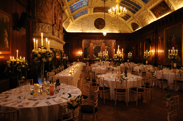 Lucy and Stevie's Real Wedding venue by candle light| Confetti.co.uk