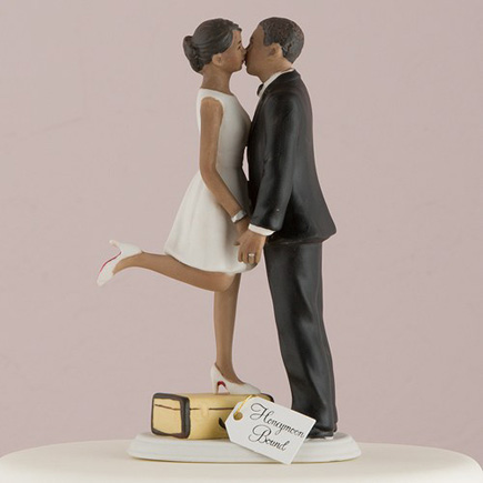 "Mix and Match Bridal Cake Toppers - ""A Kiss And We're Off!"" Figurine - Dark Skin Tone - Travel Wedding Theme Decor - Wanderlust Bride Cake Topper 
