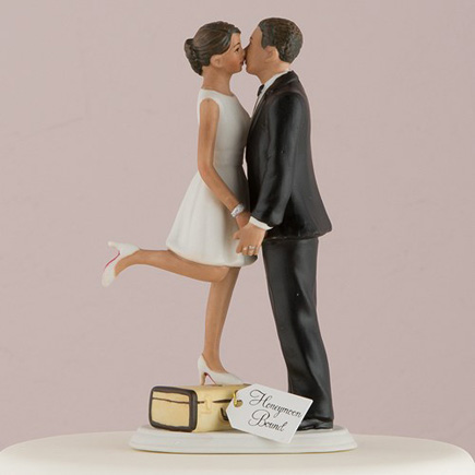 "Mix and Match Bride Cake Toppers - ""A Kiss And We're Off!"" Figurine - Medium Skin Tone - Wanderlust Wedding Ideas - Travel Inspired Cake Topper 