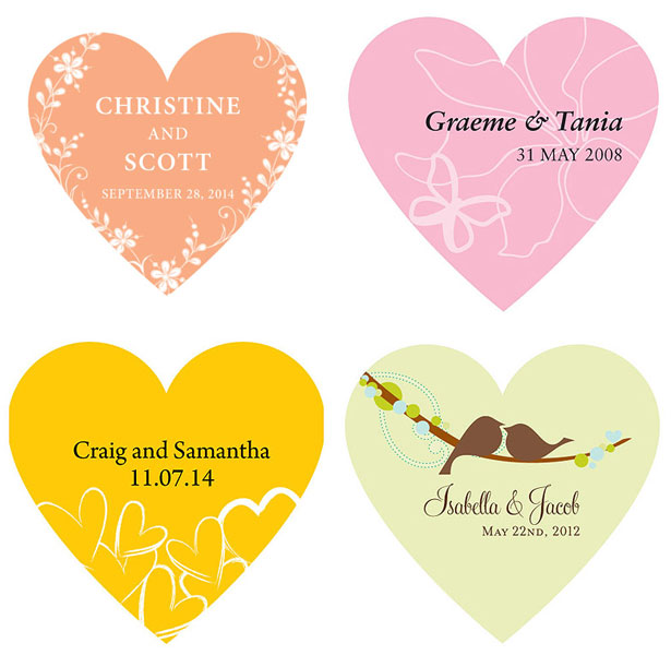 Personalised Heart Stickers for Wedding Favours