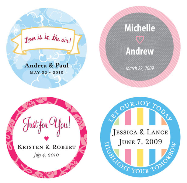 Personalised Round Stickers Wedding Favours