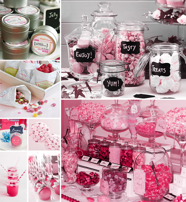 Love Hearts Pink and White 1960's Style candy buffet