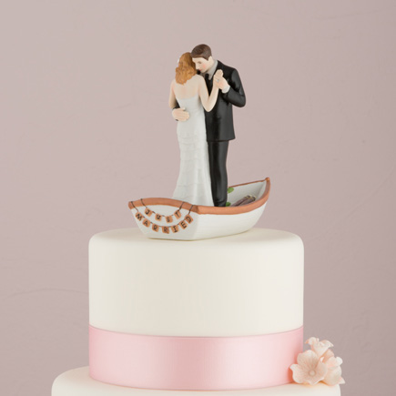 """Row Away"" Wedding Couple In a Rowboat Figurine - Wedding Cake Topper Ideas 