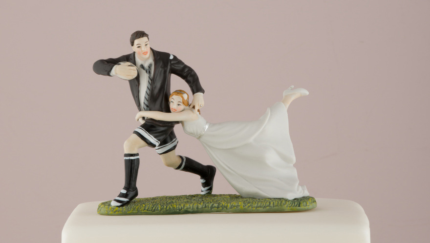 Sports Cake Toppers - Love Tackle Bride and Groom Cake Topper - Rugby Themed Wedding Cake Topper | Confetti.co.uk