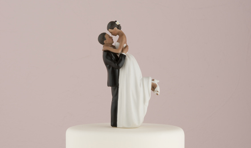 """True Romance"" Couple Figurine - Bride Lifted in the Groom's Arms Cake Topper 