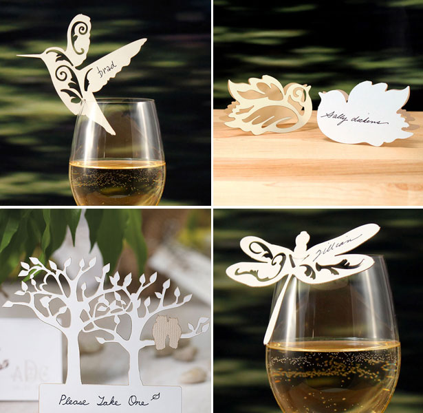 Delicate laser-cut bird, butterfly and tree place cards by Confetti