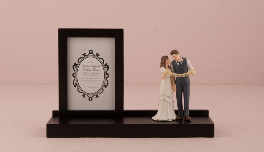 "Wooden Keepsake Display Stand - Cake Topper Display stand - Personalised Wooden Keepsake Wedding Picture and Display Stand with ""Indie Style"" Wedding Couple Figurine 