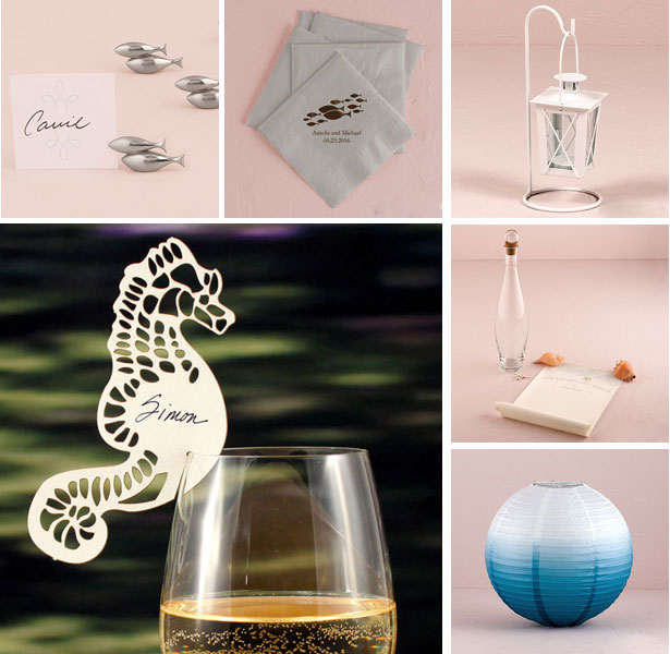 Beach inspired wedding table accessories