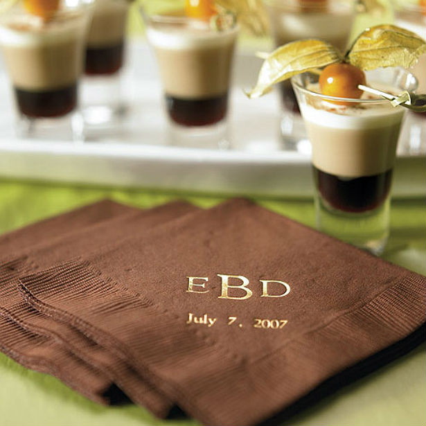 Personalised printed napkins in chocolate brown at Confetti