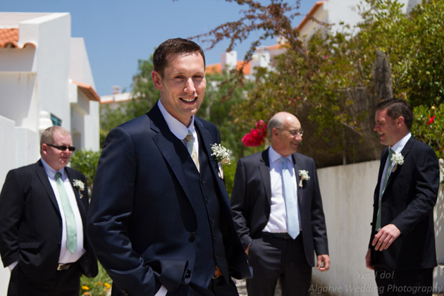The groom with his best man and groomsman
