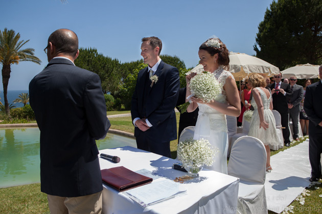 The bride and the groom together at the ceremony