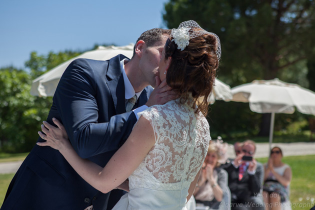 The first kiss as husband and wife