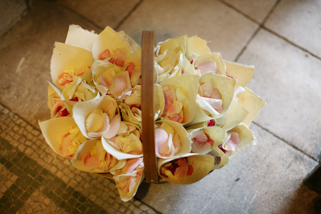 Ivory and rose confetti in cones