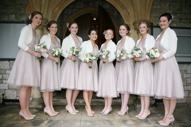 Bridesmaids in Monsoon nude dresses