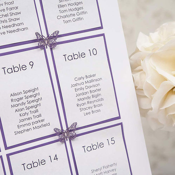 Butterfly Wedding Table Plan Seating Kit