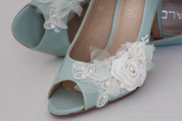 Mint coloured pep toe wedding shoes with white rose detail