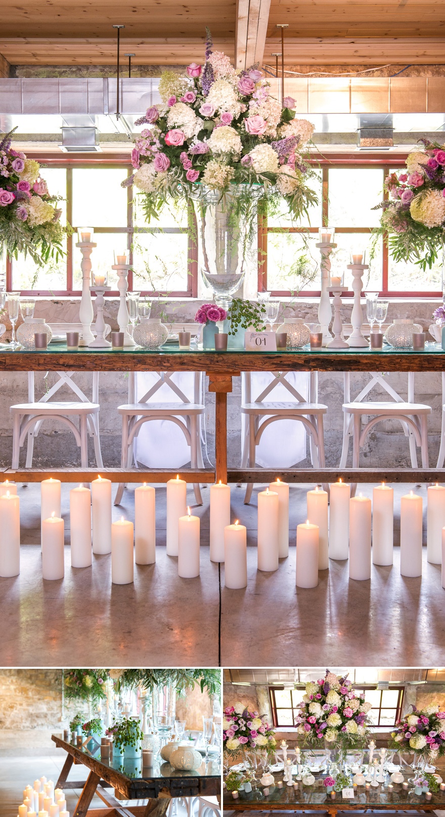 Bohemian Wedding Decor with Glass Vases and Big Floral Arrangements | Confetti.co.uk