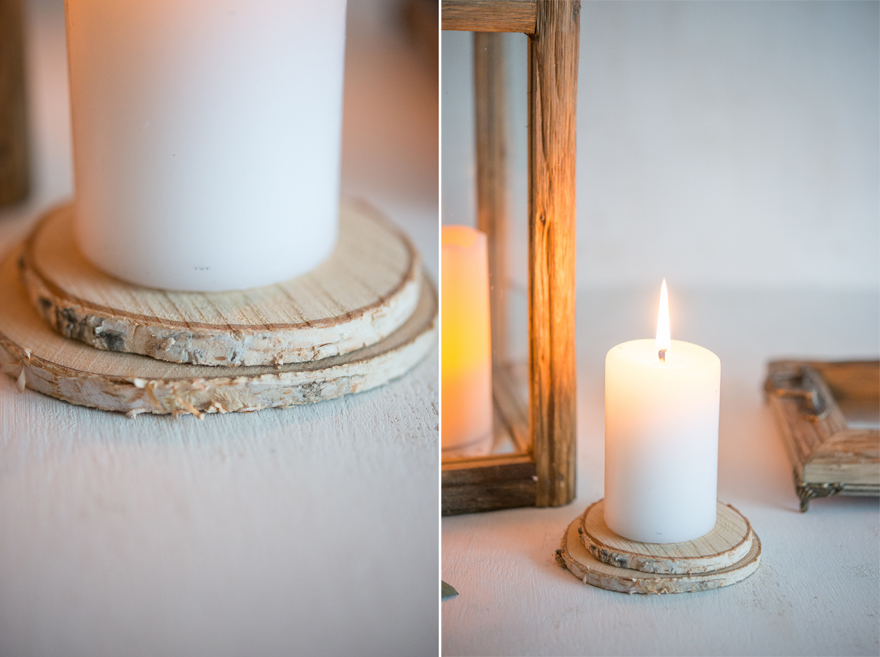 Candles on Wood Slices Decor Idea | Confetti.co.uk