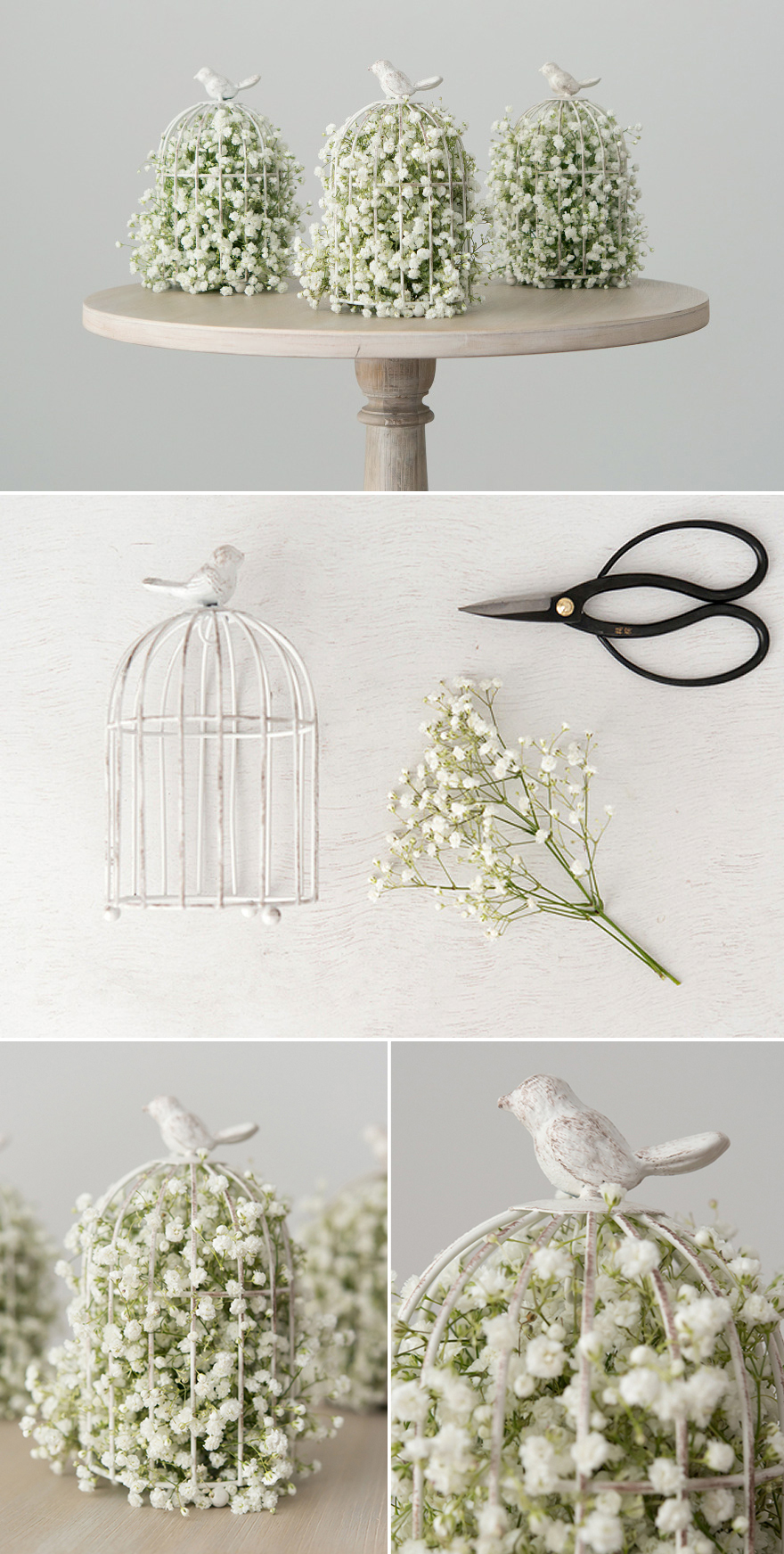 DIY Bird Centrepiece with Baby's Breath and Birdcage | Confetti.co.uk