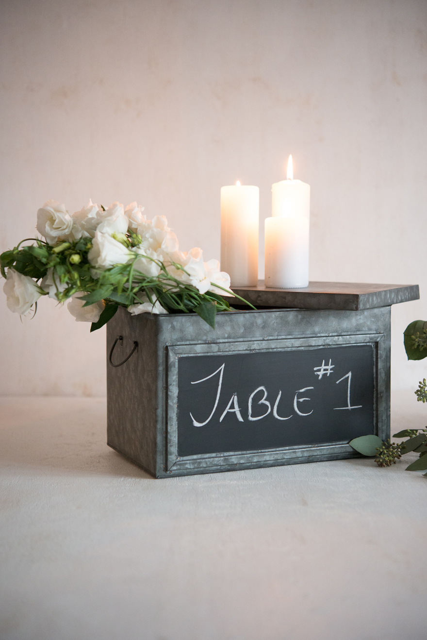 Industrial City Chic Wedding Decor Tin Box and Candles | Confetti.co.uk