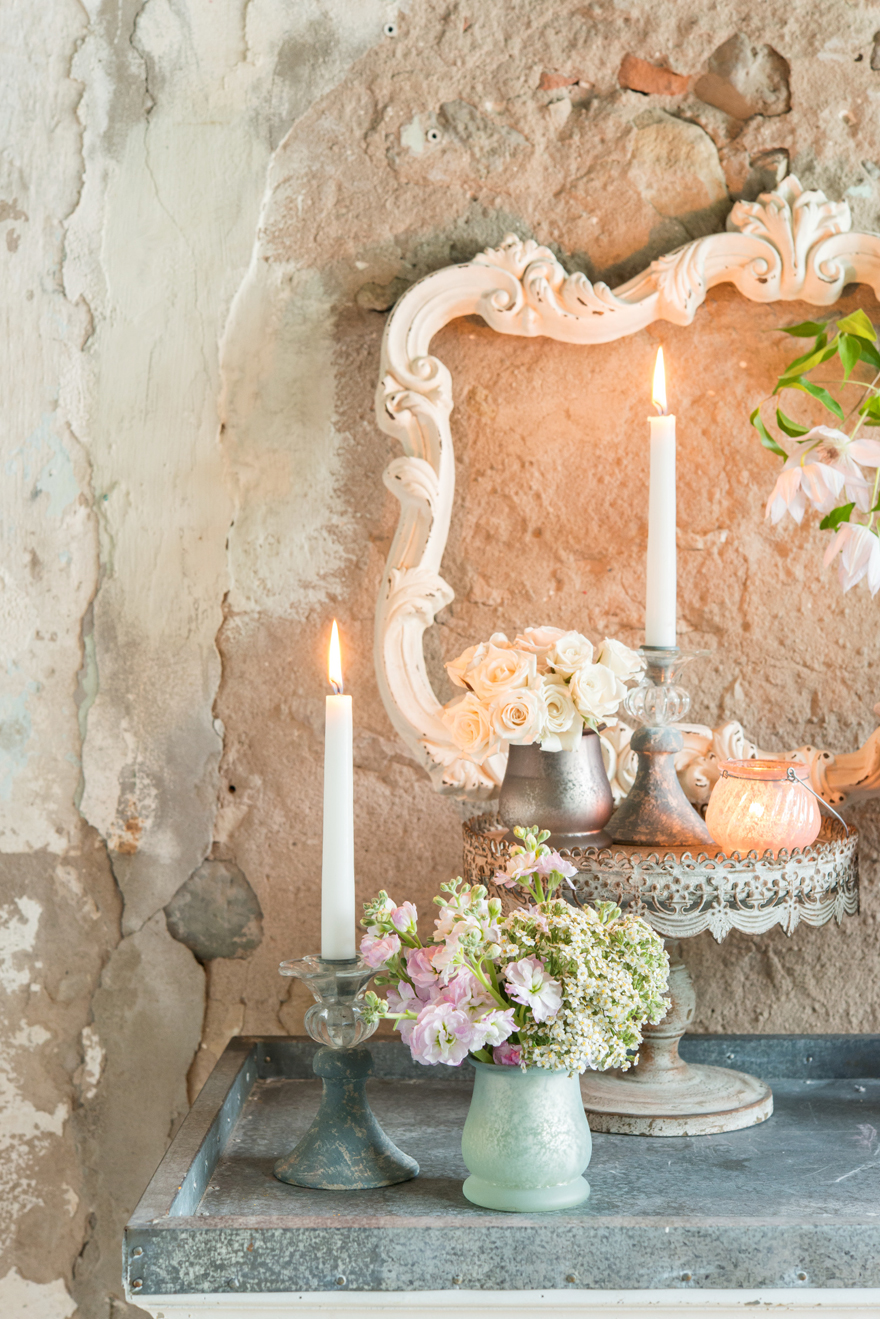 Pastel Shabby Chic Decorative Cake Stand and Candles with Vases and Flowers | Confetti.co.uk