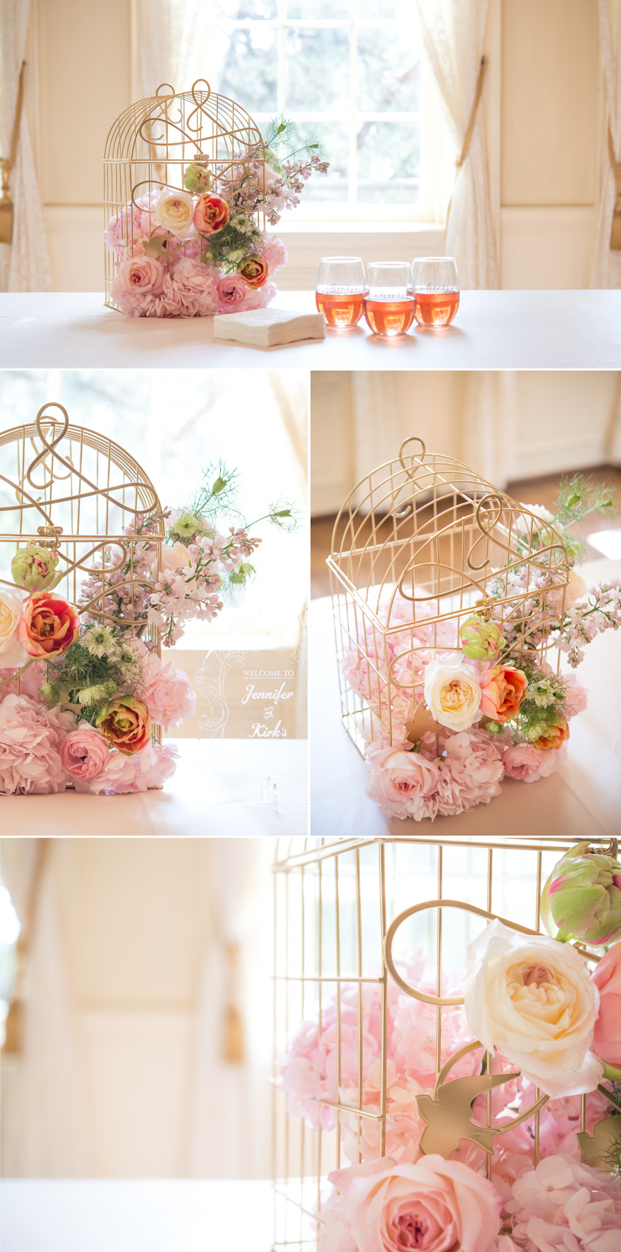 Pink and Gold Birdcage with Flowers | Confetti.co.uk