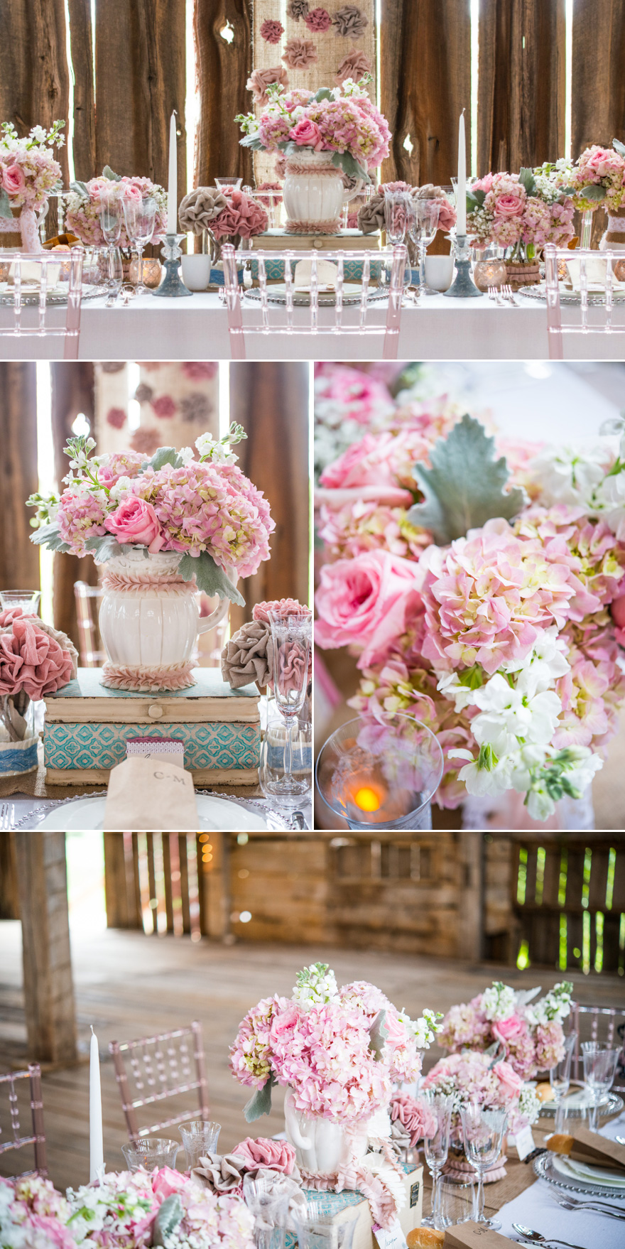 Pink and White Barn Wedding Rustic Shabby Chic Decor | Confetti.co.uk