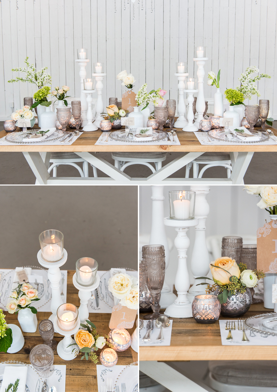 Rustic Glam Wood and White Wedding Table | Confetti.co.uk