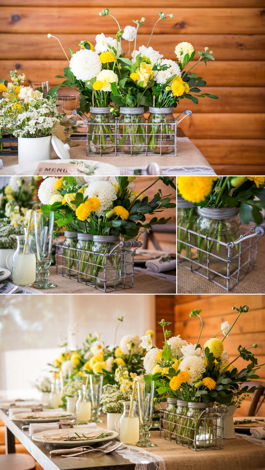 Rustic Wedding Decor White and Yellow Spring Wedding Flowers | Confetti.co.uk