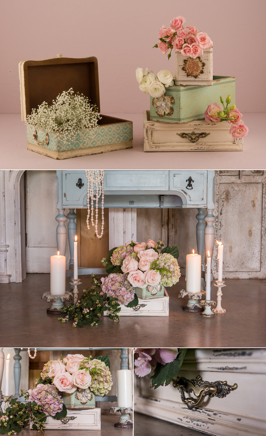Vintage Boxes and Flowers DIY Wedding Decor | Confetti.co.uk