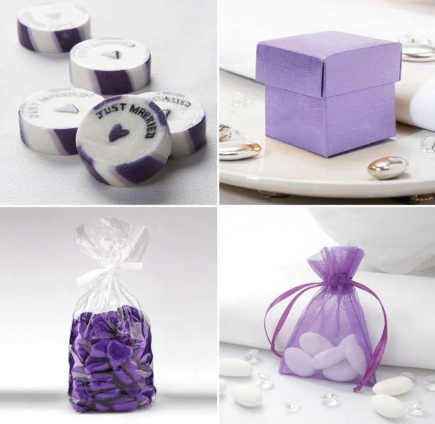 Collection of Purple Wedding Favours