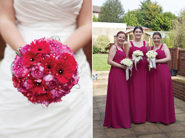 Fuchsia pink bridal bouquet and bridesmaids dresses