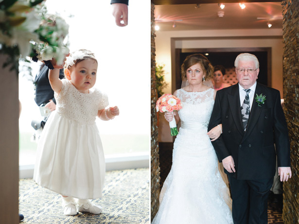 Baby in a white dress and the bride making her entrance with her grandfather
