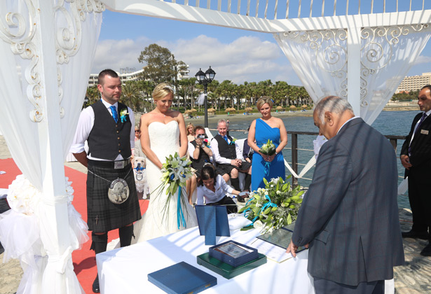 The ceremony on the Sunset Pier, Cyprus