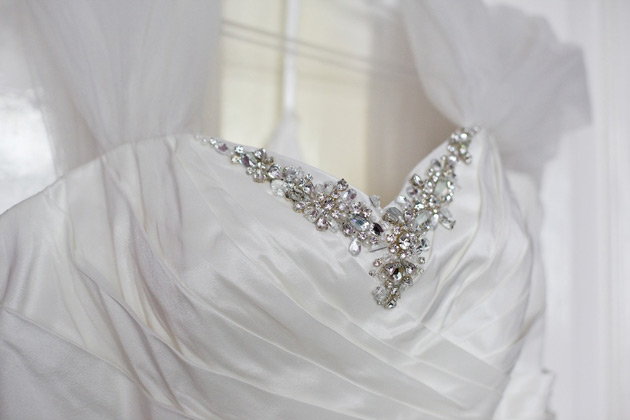 Silver detailed white wedding dress from Alta Costura Bride