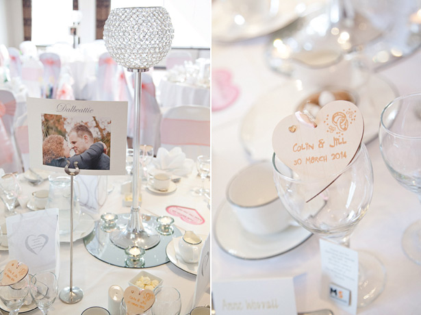 Crystal candle holder centrepieces with personalised wedding favours