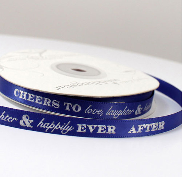 Blue personalised wedding ribbon