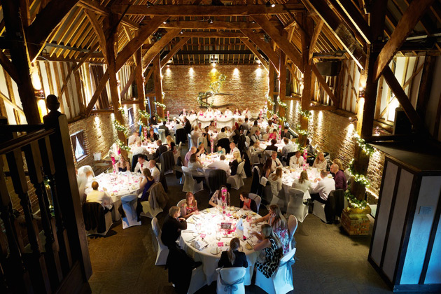 Wedding reception at Cooling Castle Barn