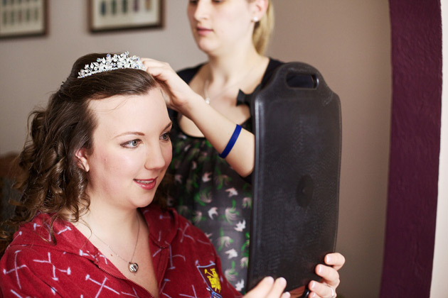 Bride with crystal tiara and curled hair