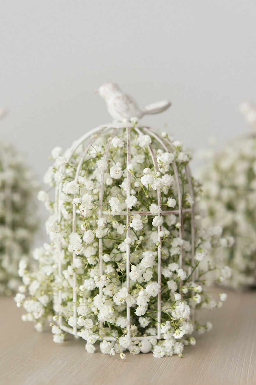 White and Green Small Metal Birdcage Filled with Baby's Breath Gypsophila | Confetti.co.uk