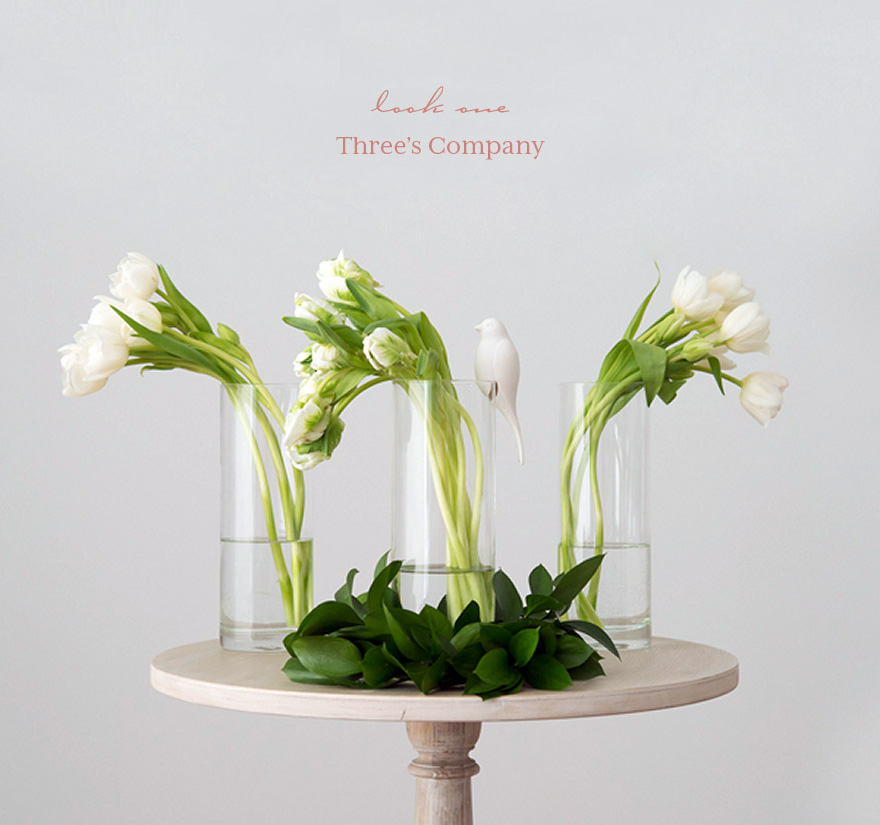 White and Green Spring Tulips Wedding Centrepiece | Confetti.co.uk