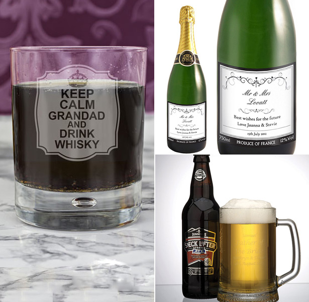 Personalised wedding whiskey glass, champagne and beer glass