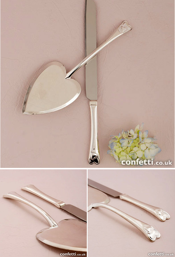 Heart Silver Plated Cake Serving Set