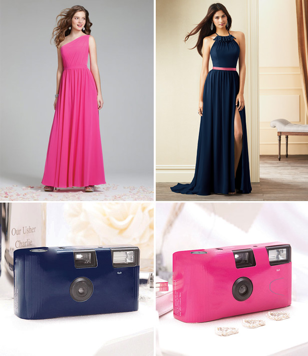 Navy and pink colour combination wedding dresses and accessories