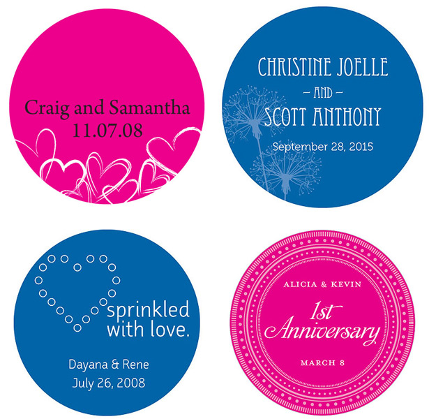 Navy and pink personalised wedding stickers